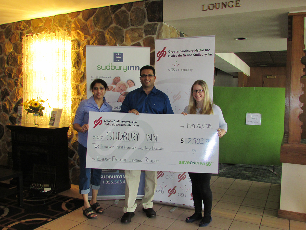 Sudbury Inn Cheque Energy Savers Greater Sudbury Hydro
