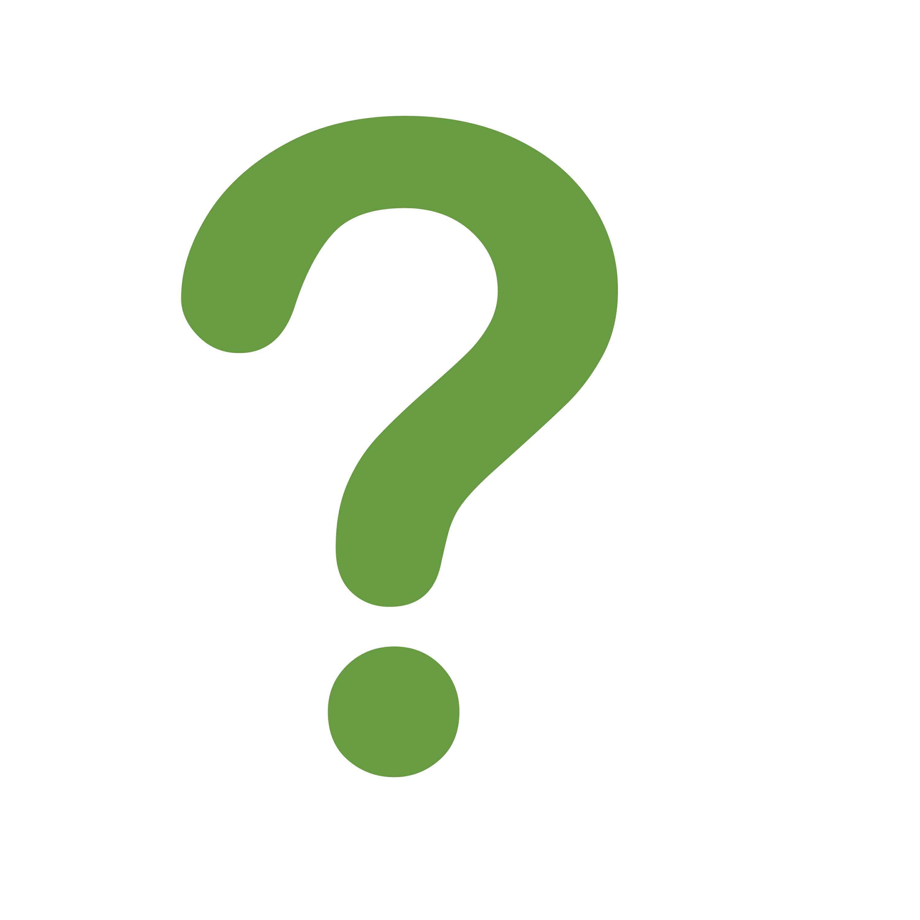 A large green question mark.