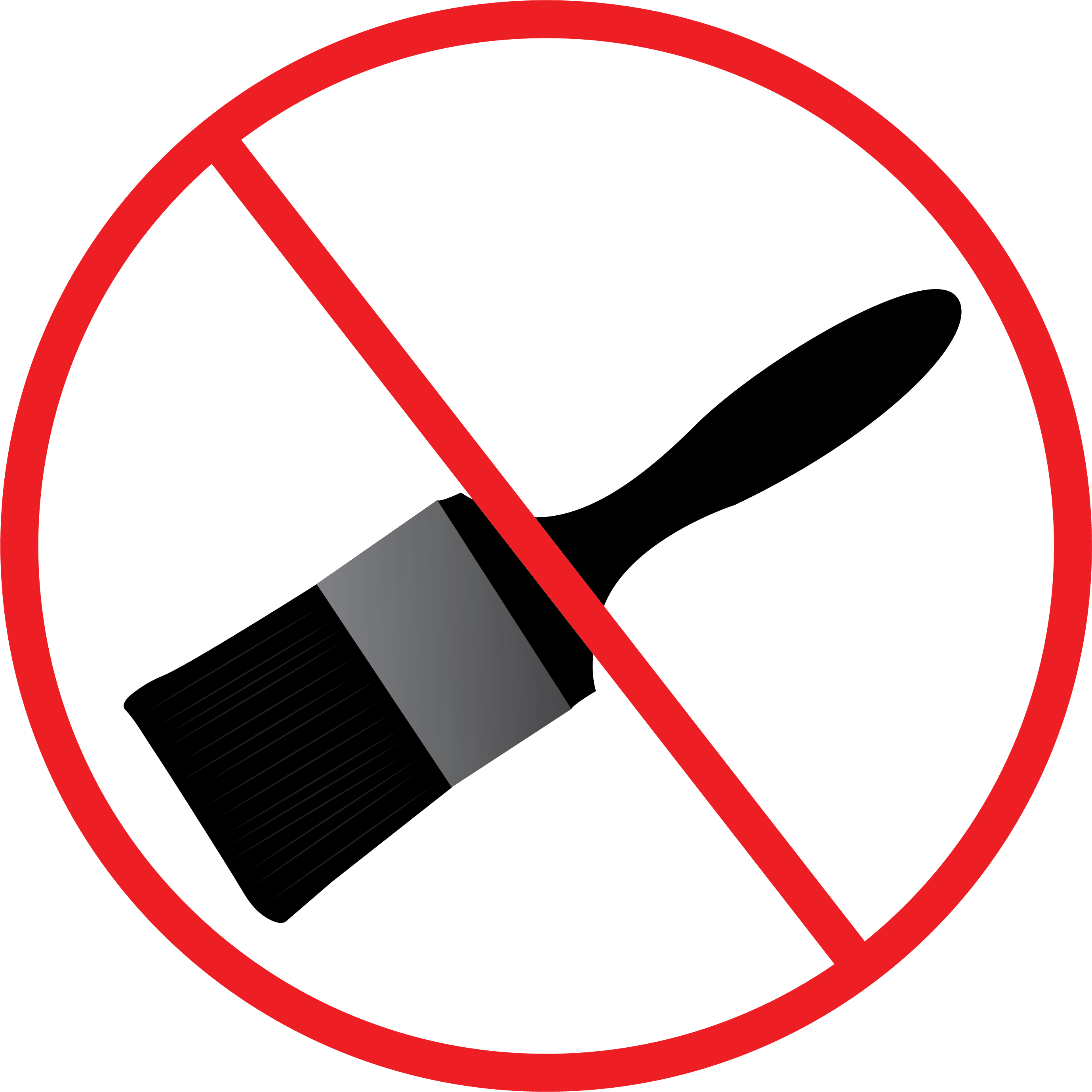 Illustration of paintbrush with a red cross out circle to indicate home owners should not paint transformers.
